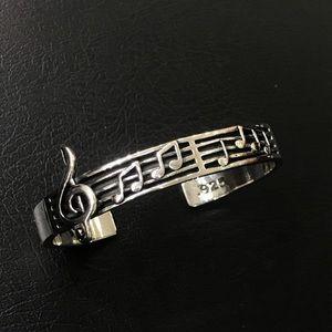 Silver music note bangle